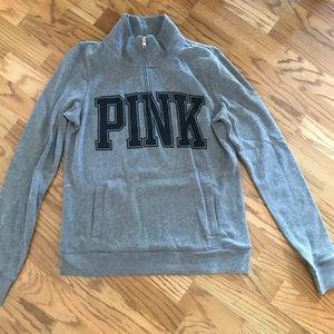 Pink zip up crew neck